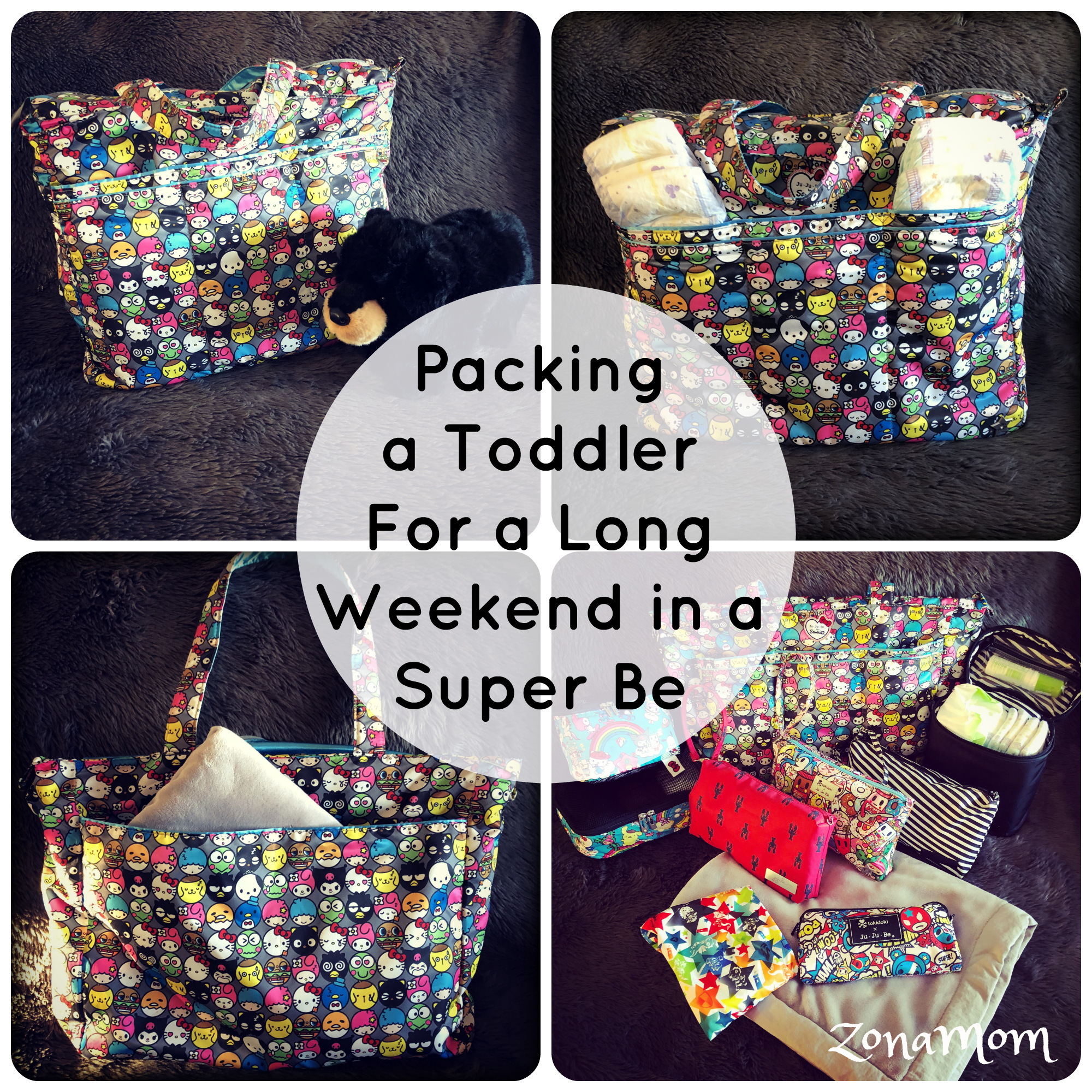 Packing a Toddler for a long weekend in a Ju Ju Be Super Be (Hello Friends print)