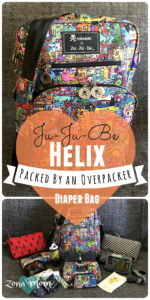 Ju Ju Be, Helix Diaper Bag, Helix messenger bag, Diaper bag packing, Helix packing, Cloth Diapering diaper bag, Ju Ju Be, Ju Ju Be Pink Lady, Ju Ju Be Kaiju City, Tokidoki Kaiju City, Diaper bag organization, Diaper Bag Review, Ju Ju Be Review